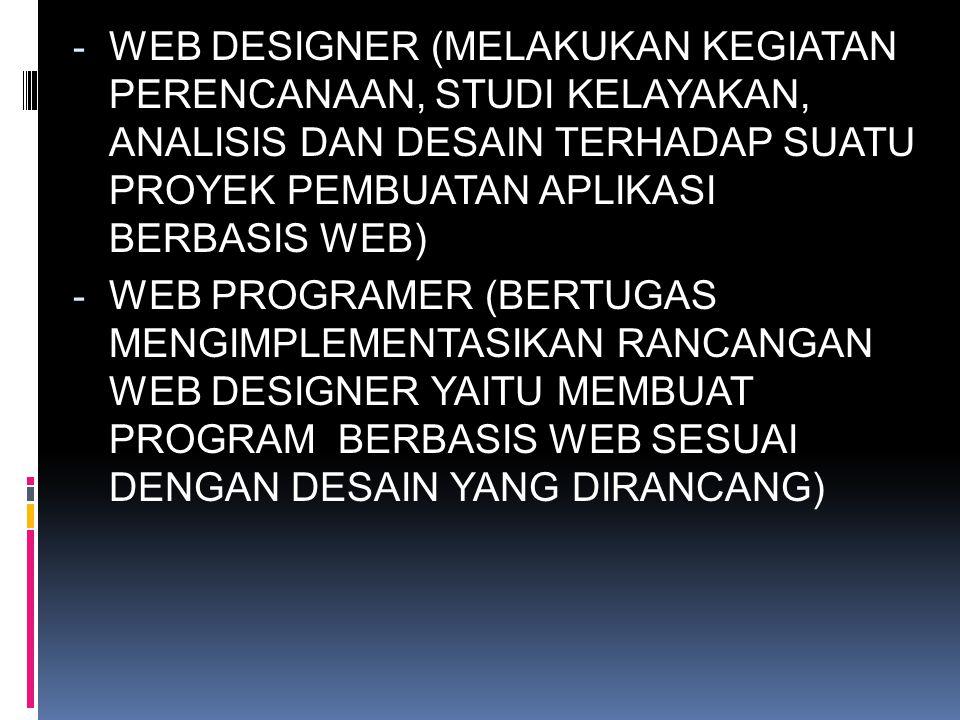 WEB DESIGNER (MELAKUKAN KEGIATAN PERENCANAAN, STUDI KELAYAKAN, ANALISIS DAN DESAIN TERHADAP SUATU PROYEK PEMBUATAN APLIKASI BERBASIS WEB)