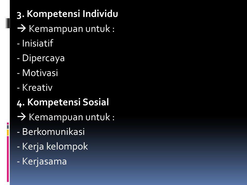 3. Kompetensi Individu  Kemampuan untuk : - Inisiatif - Dipercaya - Motivasi - Kreativ 4.
