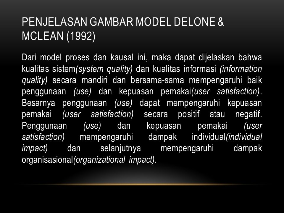 Penjelasan Gambar Model DeLone & McLean (1992)