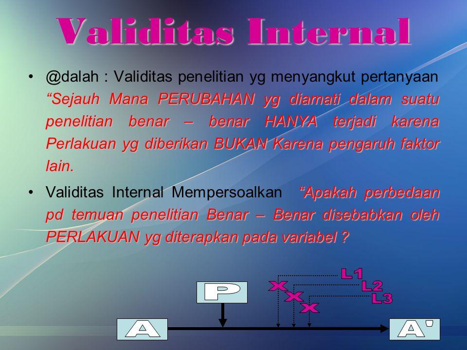 Validitas Internal A A P X L1 L2 L3