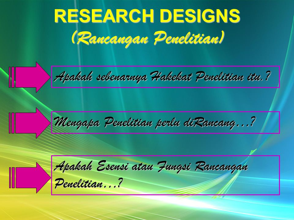 RESEARCH DESIGNS (Rancangan Penelitian)