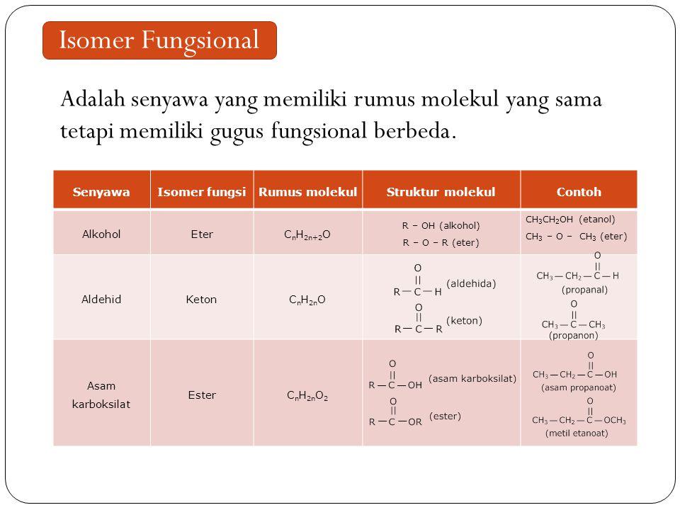Isomer Fungsional Adalah senyawa yang memiliki rumus molekul yang sama