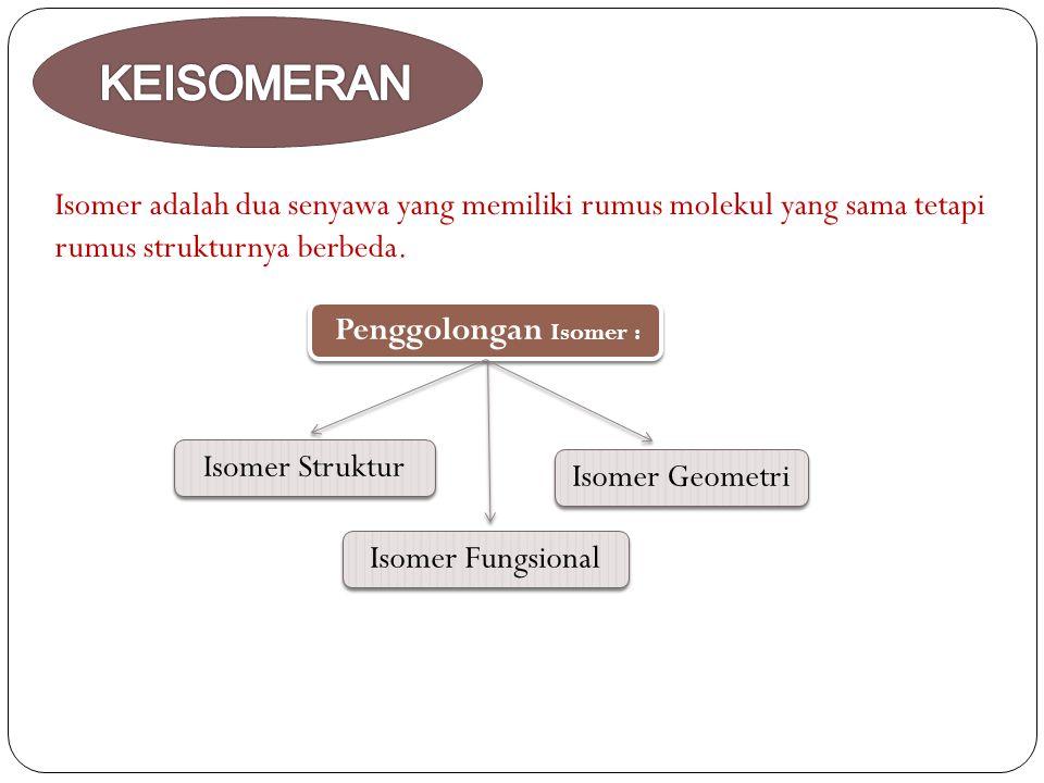 KEISOMERAN Isomer adalah dua senyawa yang memiliki rumus molekul yang sama tetapi. rumus strukturnya berbeda.