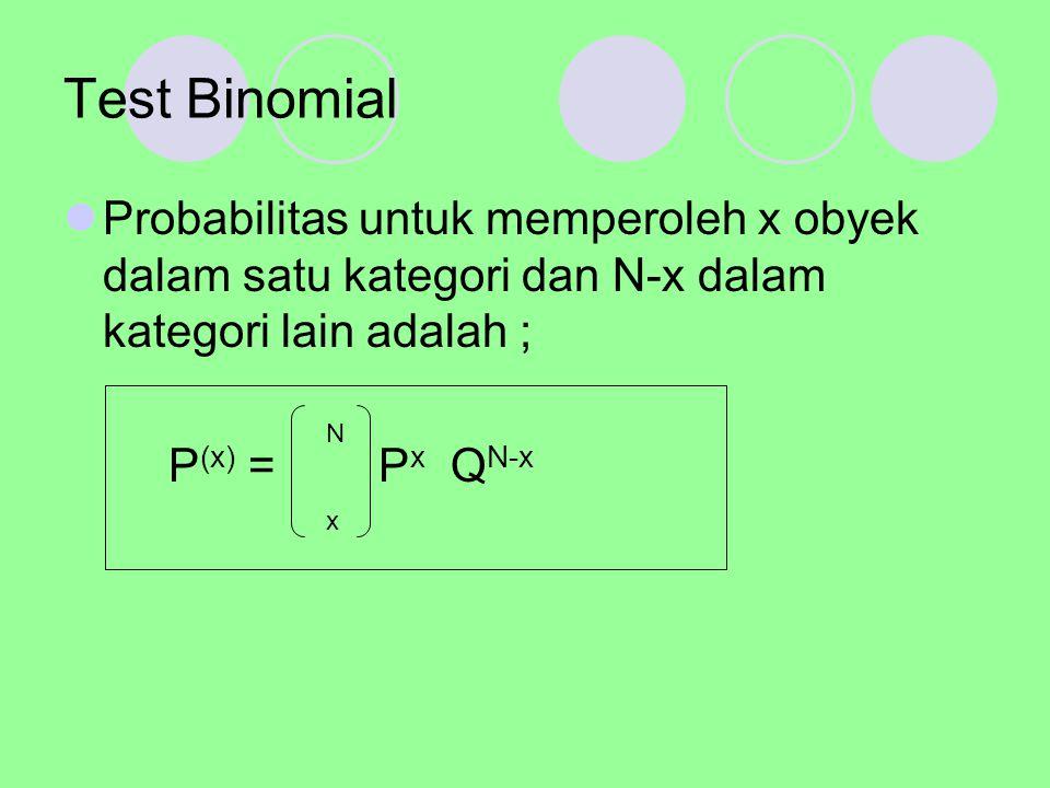 Test Binomial Probabilitas untuk memperoleh x obyek dalam satu kategori dan N-x dalam kategori lain adalah ;