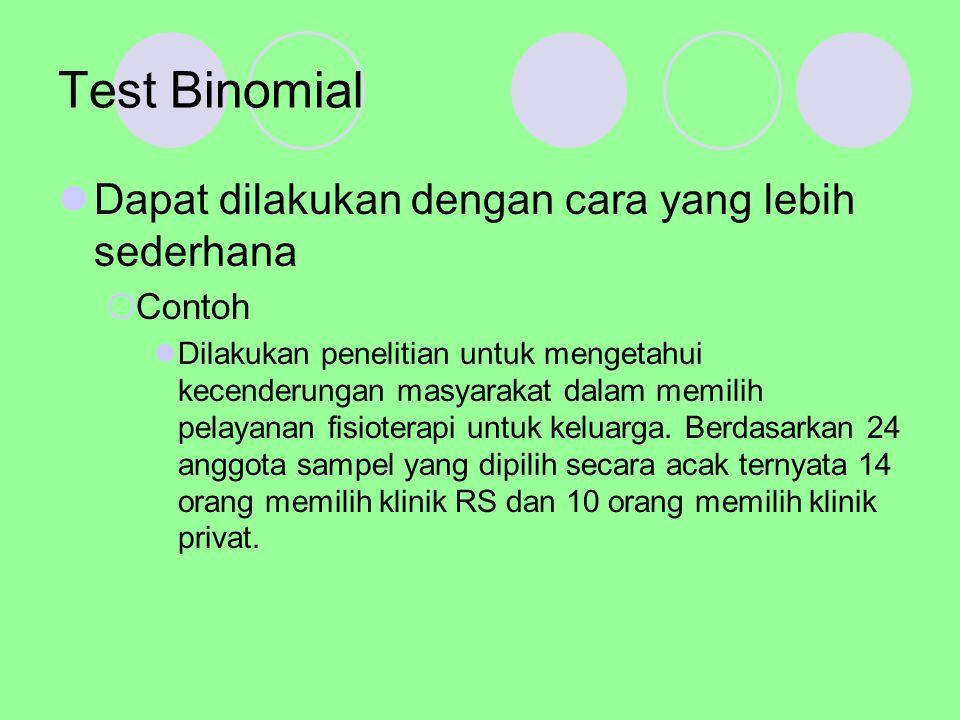 Test Binomial Dapat dilakukan dengan cara yang lebih sederhana Contoh