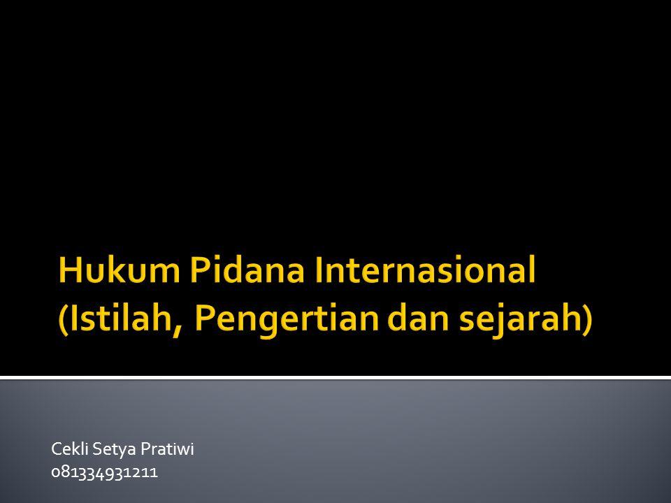 Hukum Pidana Internasional (Istilah, Pengertian dan sejarah)