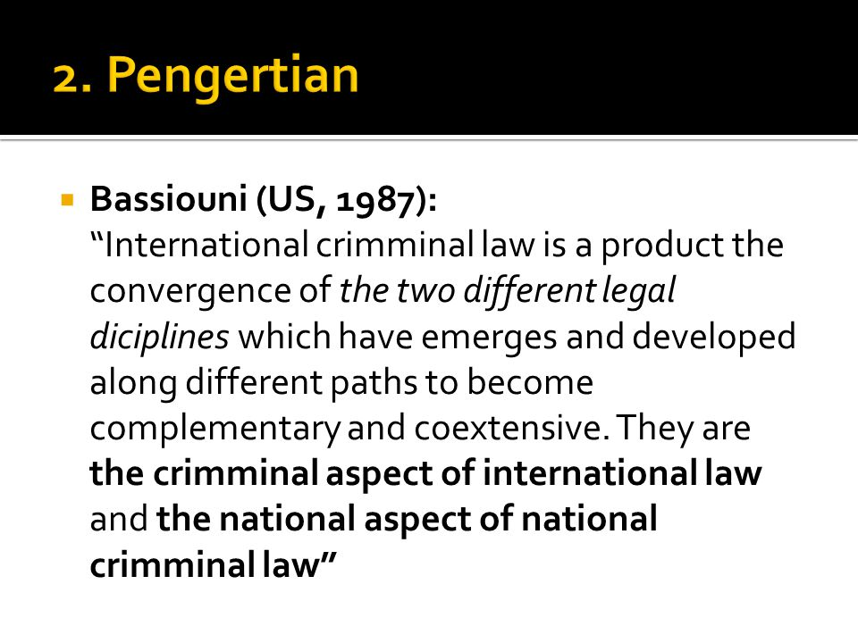 2. Pengertian Bassiouni (US, 1987):