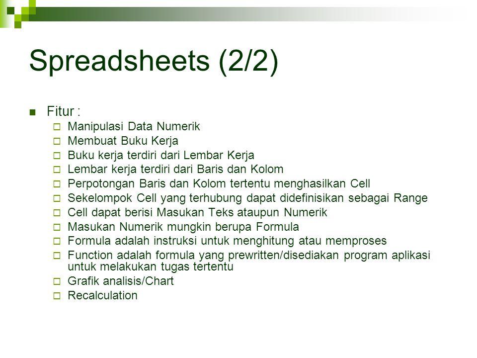 Spreadsheets (2/2) Fitur : Manipulasi Data Numerik Membuat Buku Kerja