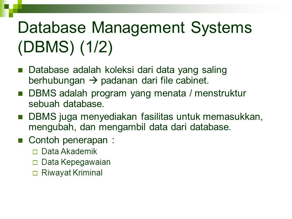 Database Management Systems (DBMS) (1/2)