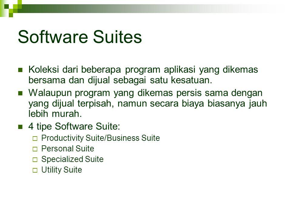Software Suites Koleksi dari beberapa program aplikasi yang dikemas bersama dan dijual sebagai satu kesatuan.