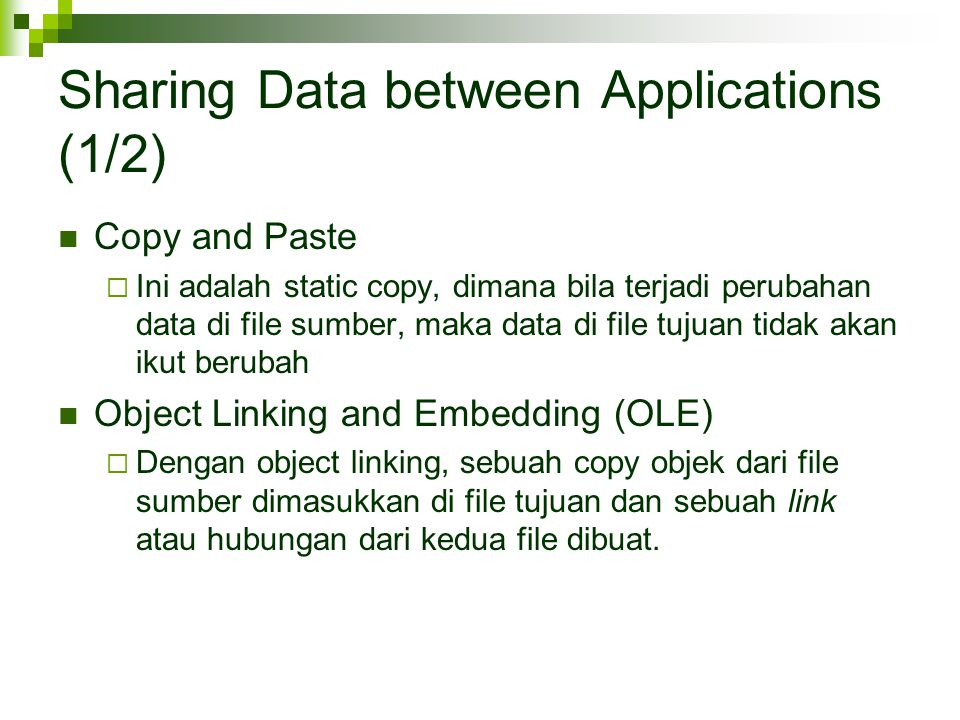 Sharing Data between Applications (1/2)