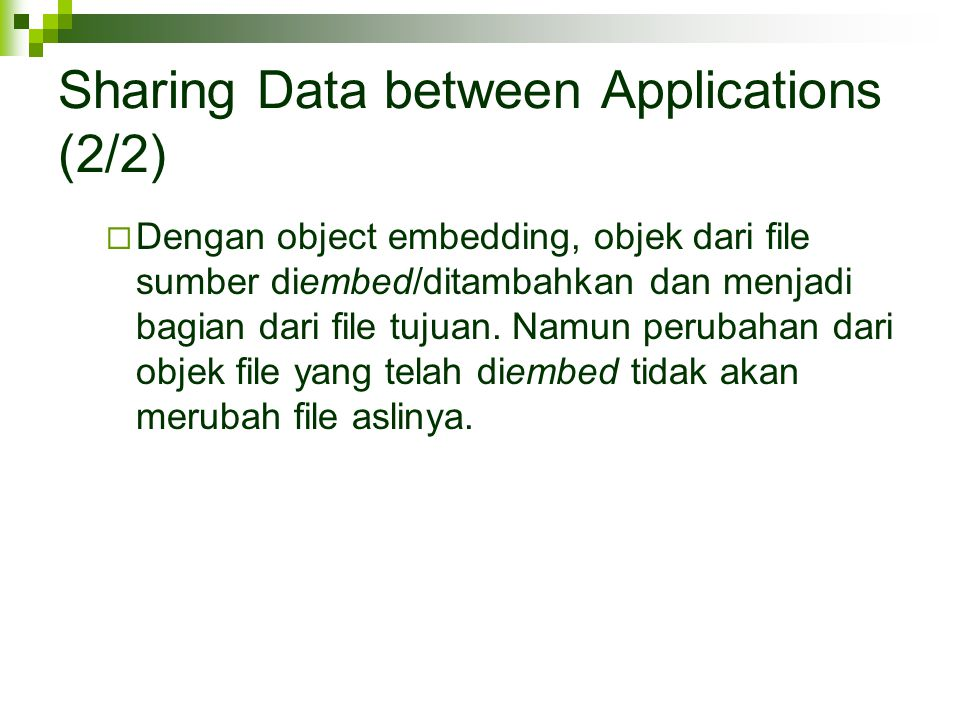 Sharing Data between Applications (2/2)