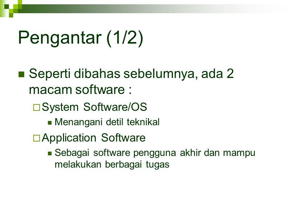 Pengantar (1/2) Seperti dibahas sebelumnya, ada 2 macam software :