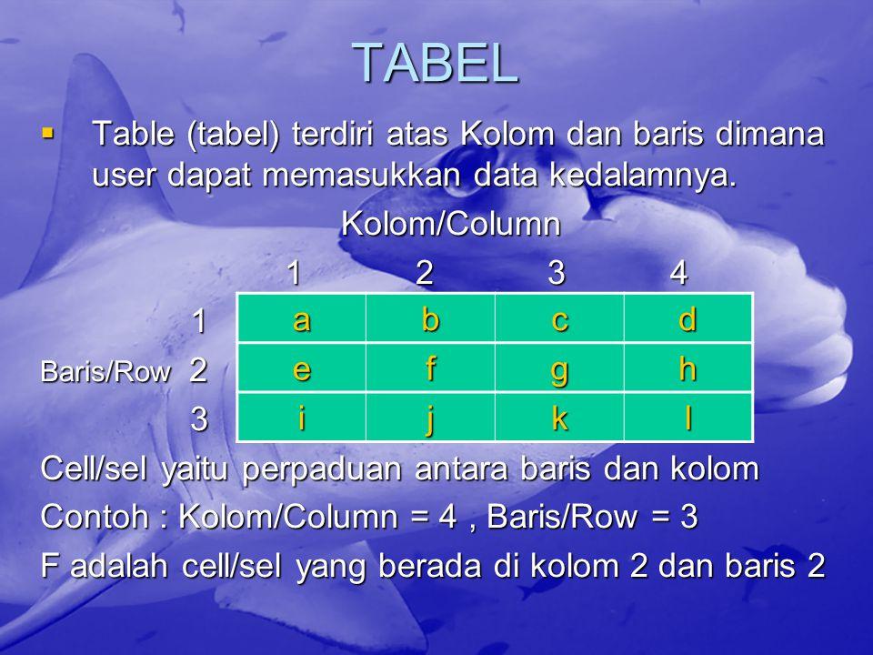 TABEL Table (tabel) terdiri atas Kolom dan baris dimana user dapat memasukkan data kedalamnya. Kolom/Column.
