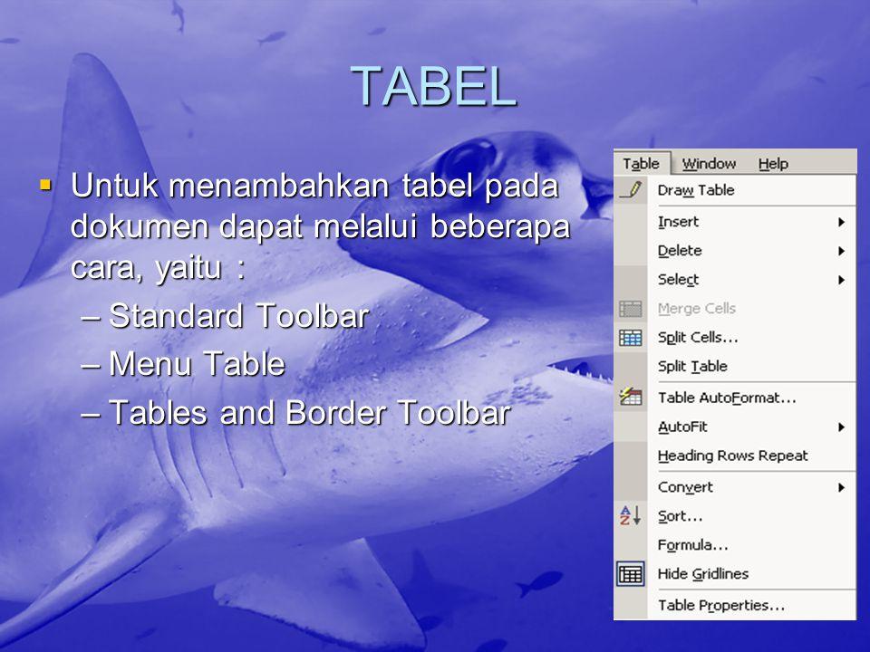 TABEL Untuk menambahkan tabel pada dokumen dapat melalui beberapa cara, yaitu : Standard Toolbar. Menu Table.