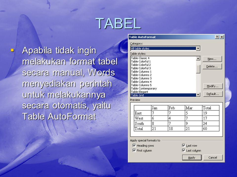 TABEL Apabila tidak ingin melakukan format tabel secara manual, Words menyediakan perintah untuk melakukannya secara otomatis, yaitu Table AutoFormat.