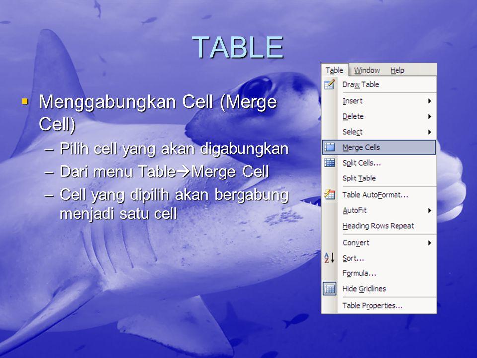 TABLE Menggabungkan Cell (Merge Cell) Pilih cell yang akan digabungkan