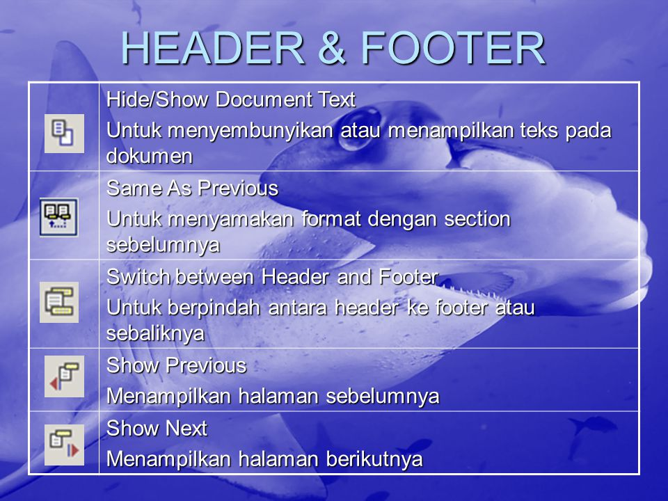 HEADER & FOOTER Hide/Show Document Text