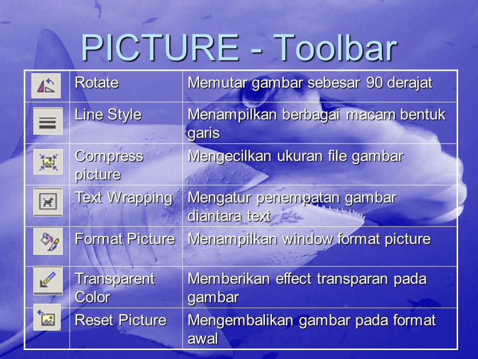 PICTURE - Toolbar Rotate Memutar gambar sebesar 90 derajat Line Style