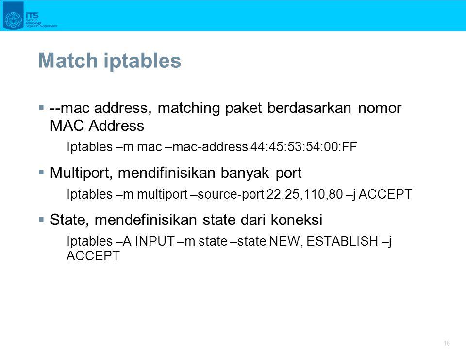 Match iptables --mac address, matching paket berdasarkan nomor MAC Address. Iptables –m mac –mac-address 44:45:53:54:00:FF.