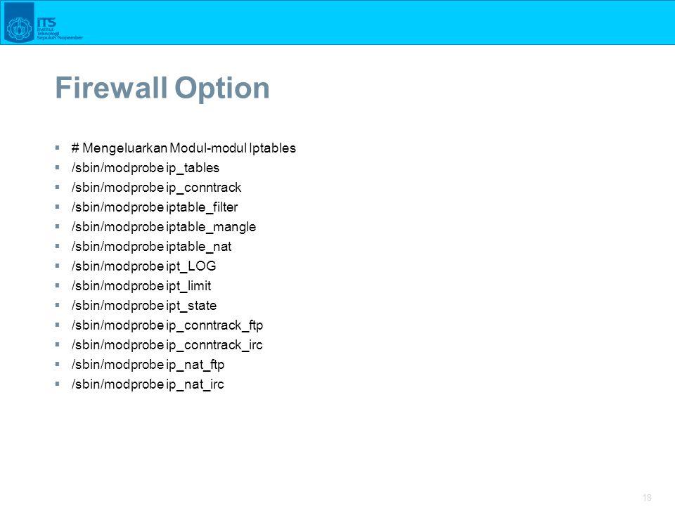 Firewall Option # Mengeluarkan Modul-modul Iptables