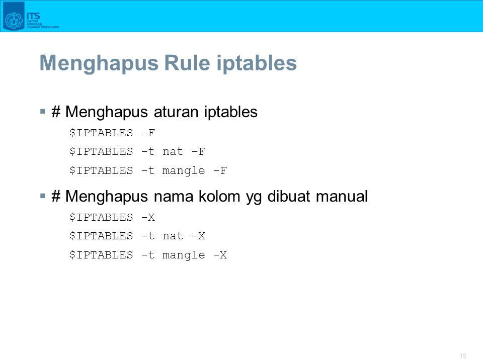 Menghapus Rule iptables