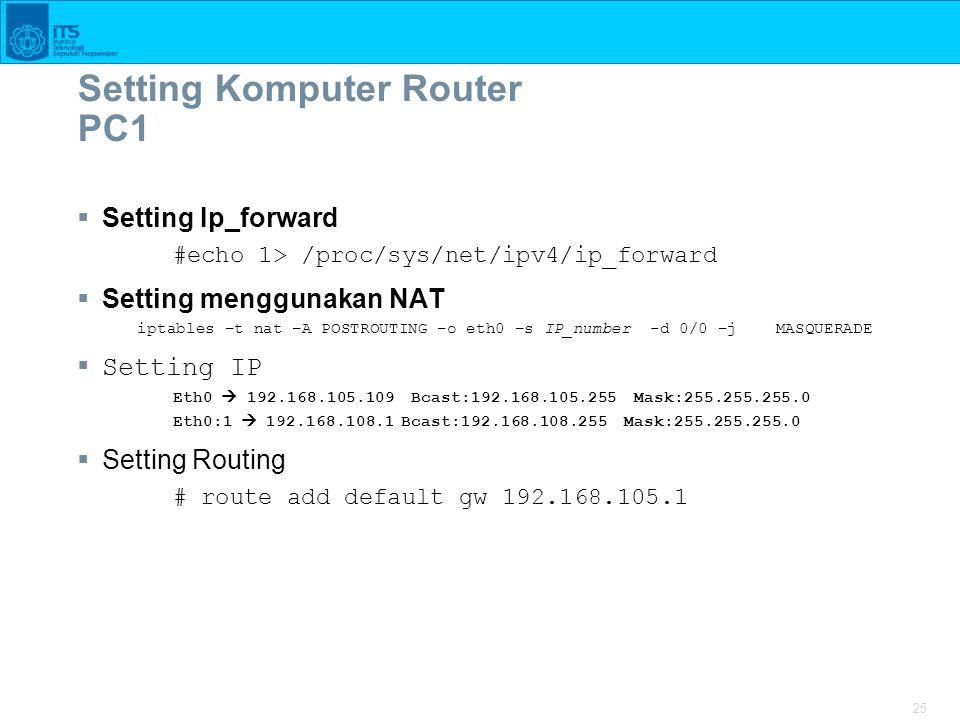 Setting Komputer Router PC1