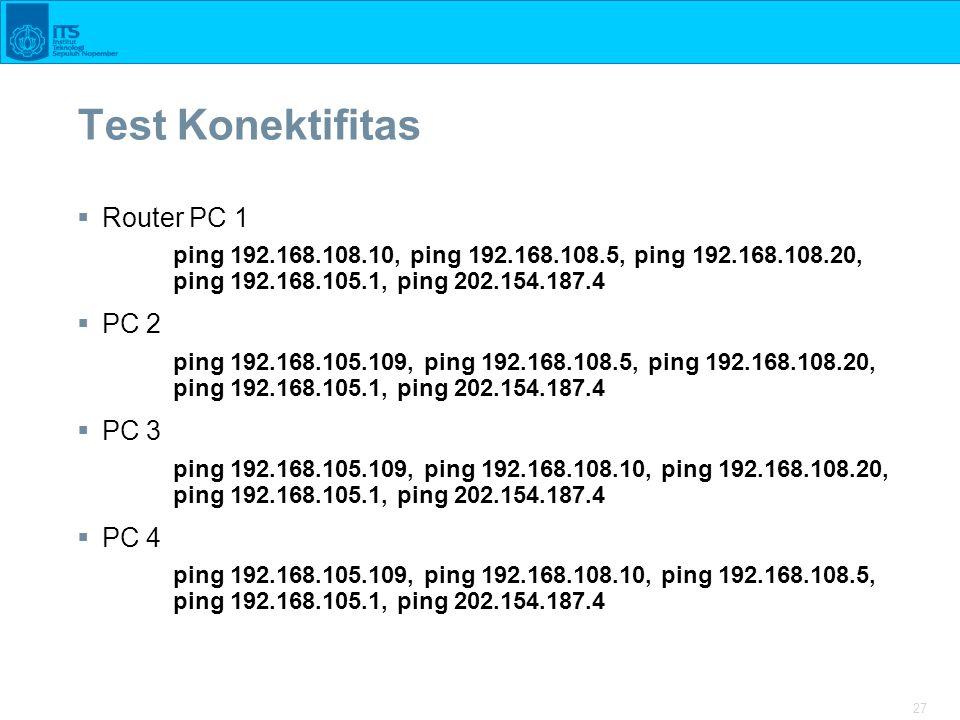 Test Konektifitas Router PC 1 PC 2 PC 3 PC 4