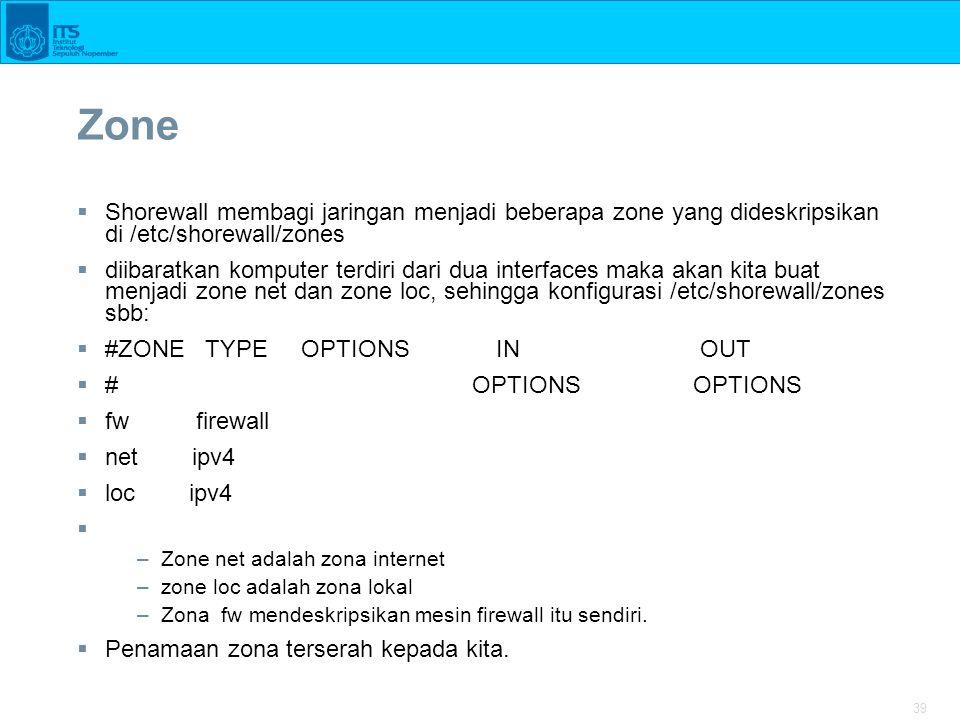 Zone Shorewall membagi jaringan menjadi beberapa zone yang dideskripsikan di /etc/shorewall/zones.