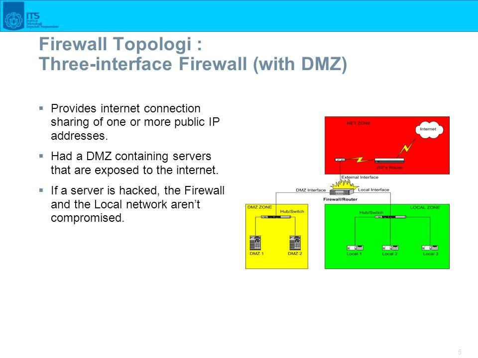 Firewall Topologi : Three-interface Firewall (with DMZ)