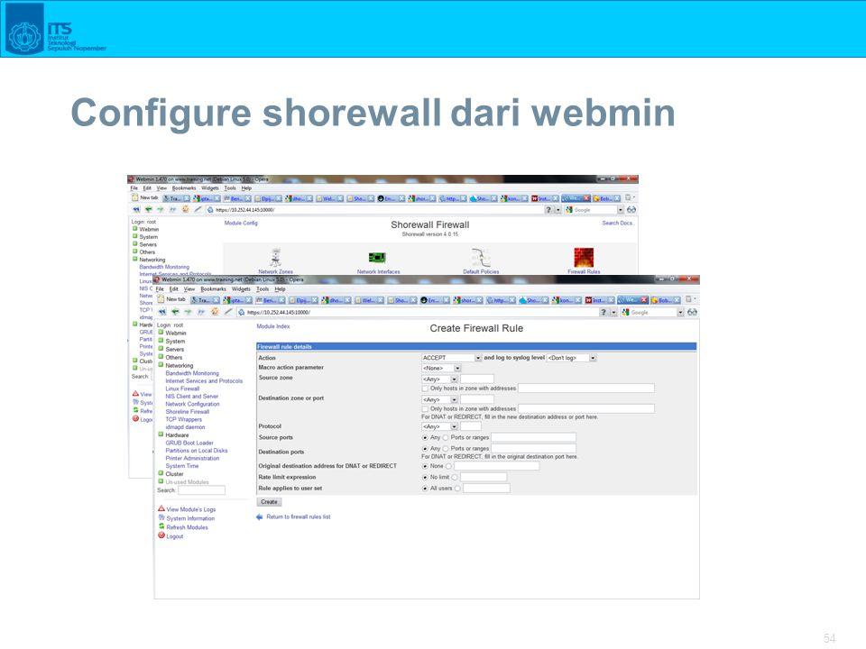 Configure shorewall dari webmin