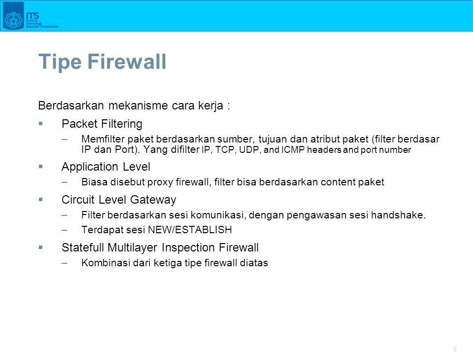 Tipe Firewall Berdasarkan mekanisme cara kerja : Packet Filtering