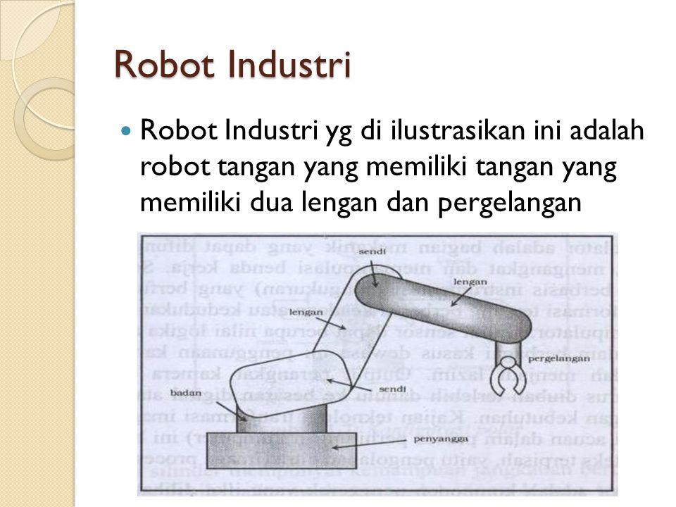 Robot Industri Robot Industri yg di ilustrasikan ini adalah robot tangan yang memiliki tangan yang memiliki dua lengan dan pergelangan.