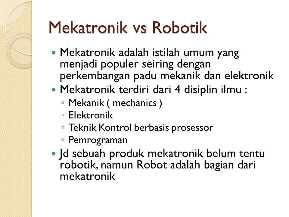 Mekatronik vs Robotik Mekatronik adalah istilah umum yang menjadi populer seiring dengan perkembangan padu mekanik dan elektronik.