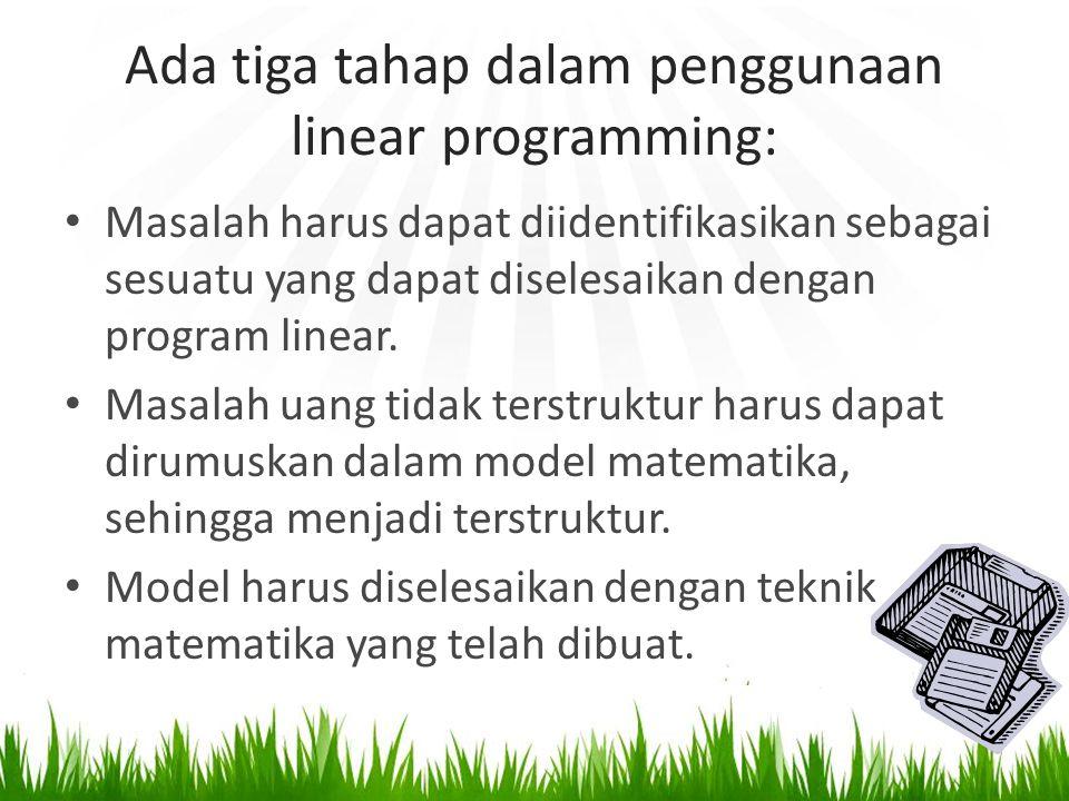 Ada tiga tahap dalam penggunaan linear programming: