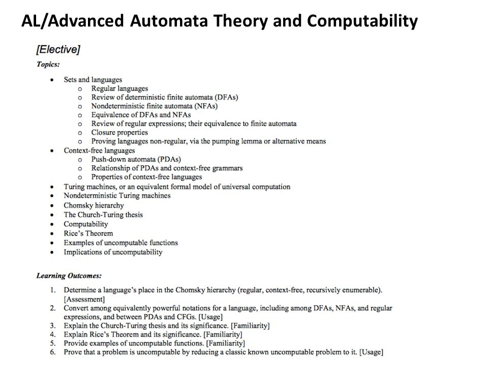 AL/Advanced Automata Theory and Computability