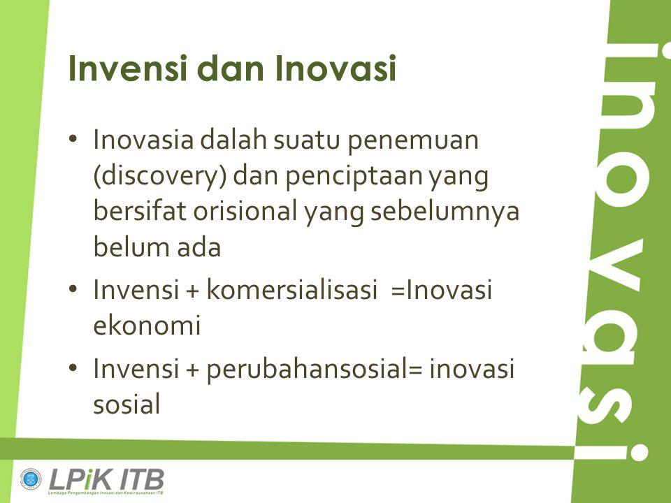 Invensi dan Inovasi Inovasia dalah suatu penemuan (discovery) dan penciptaan yang bersifat orisional yang sebelumnya belum ada.