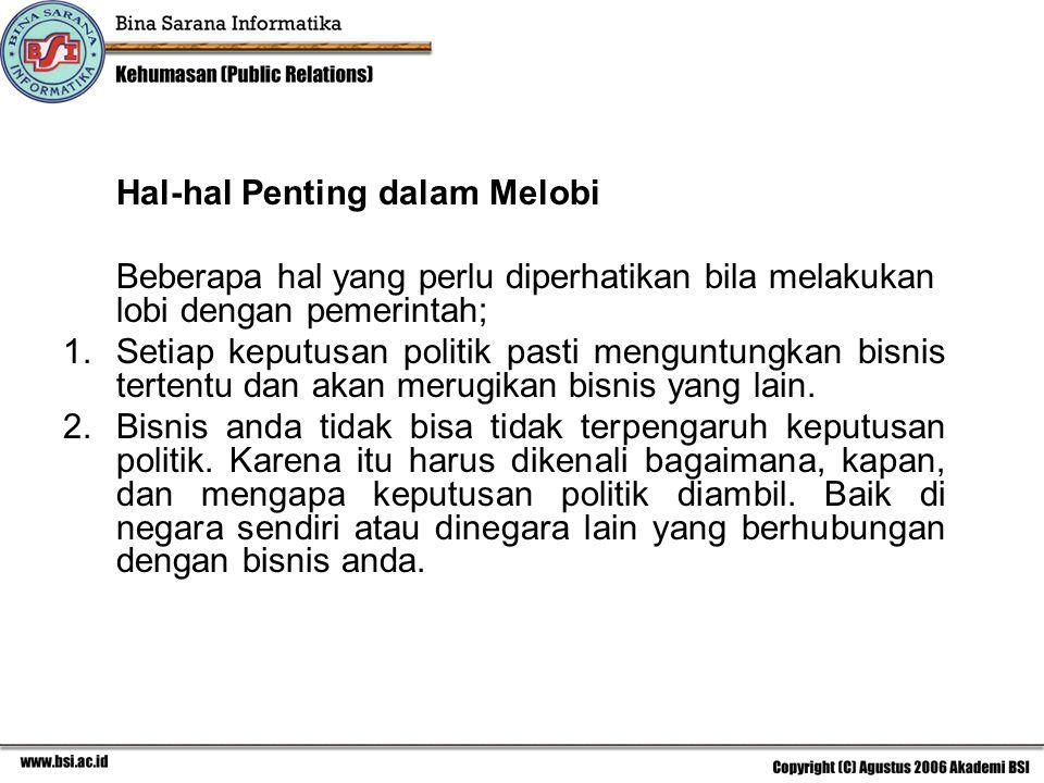 Hal-hal Penting dalam Melobi