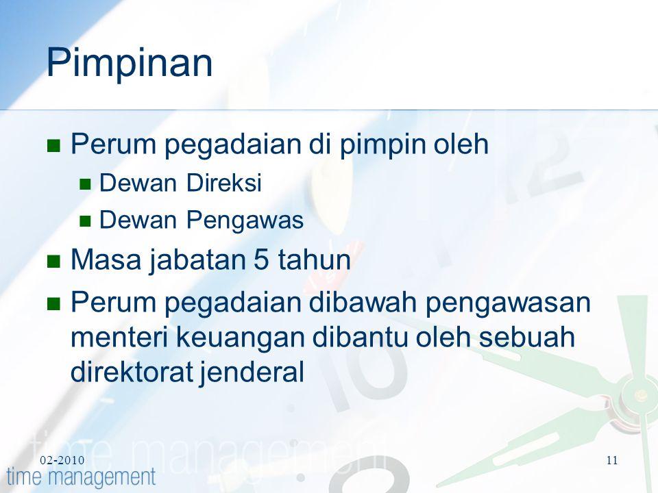 Pimpinan Perum pegadaian di pimpin oleh Masa jabatan 5 tahun