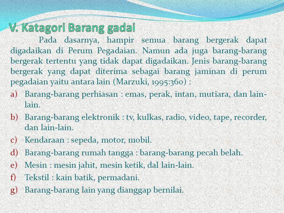 V. Katagori Barang gadai