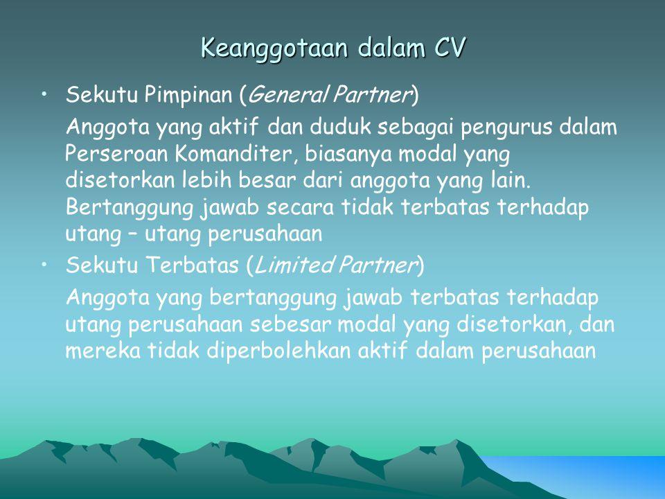Keanggotaan dalam CV Sekutu Pimpinan (General Partner)