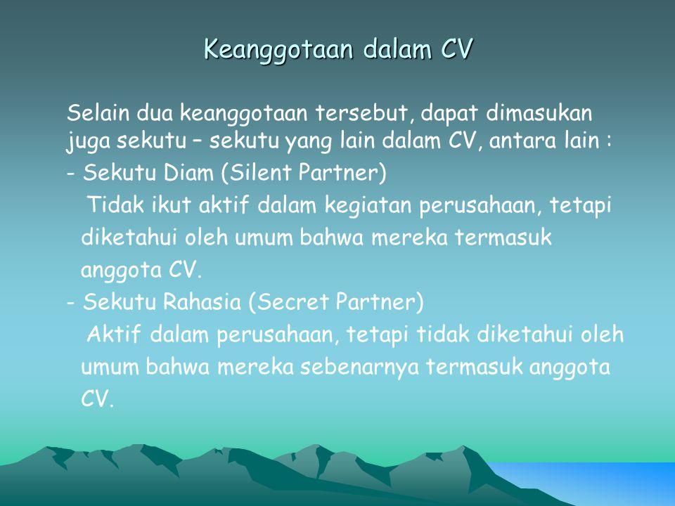 Keanggotaan dalam CV