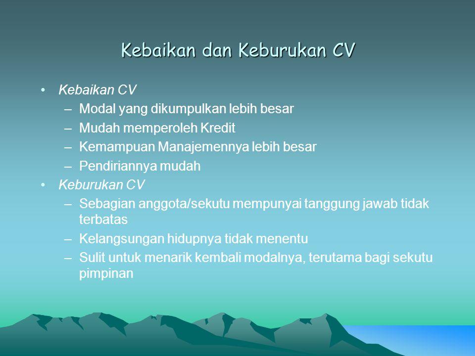 Kebaikan dan Keburukan CV