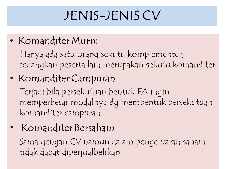 JENIS-JENIS CV Komanditer Bersaham Komanditer Murni