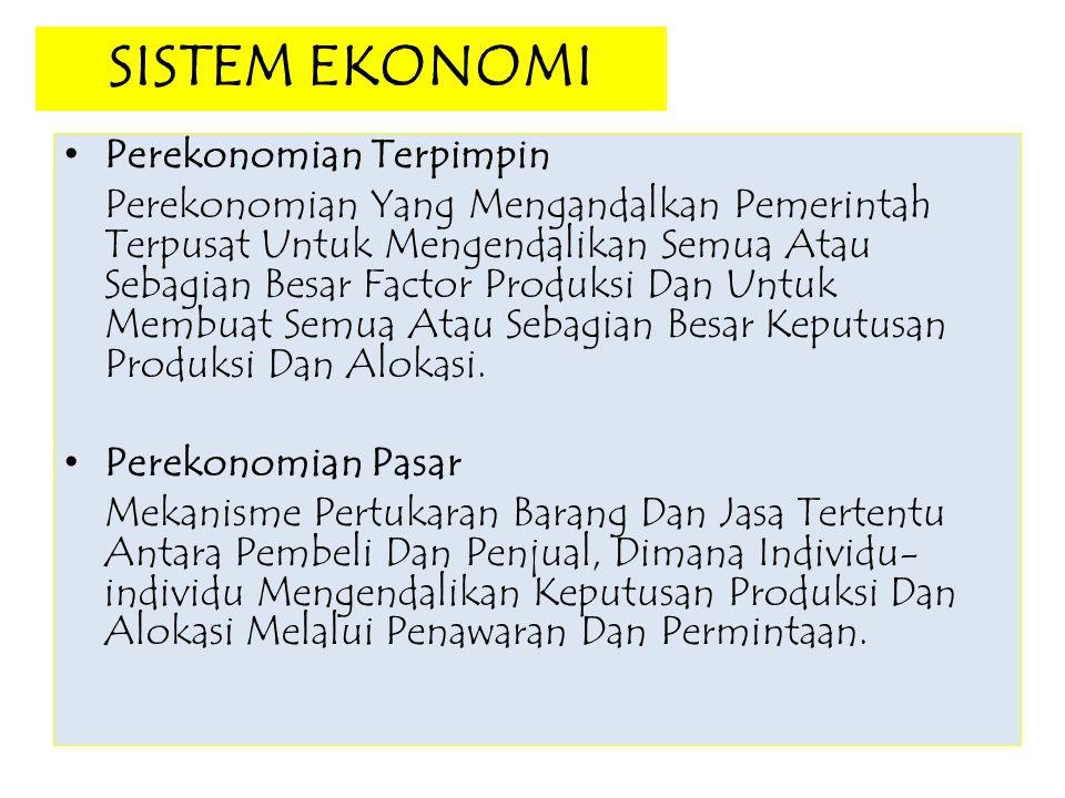 SISTEM EKONOMI Perekonomian Terpimpin