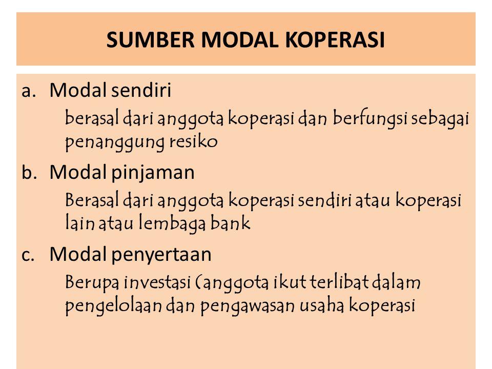 SUMBER MODAL KOPERASI Modal sendiri Modal pinjaman Modal penyertaan