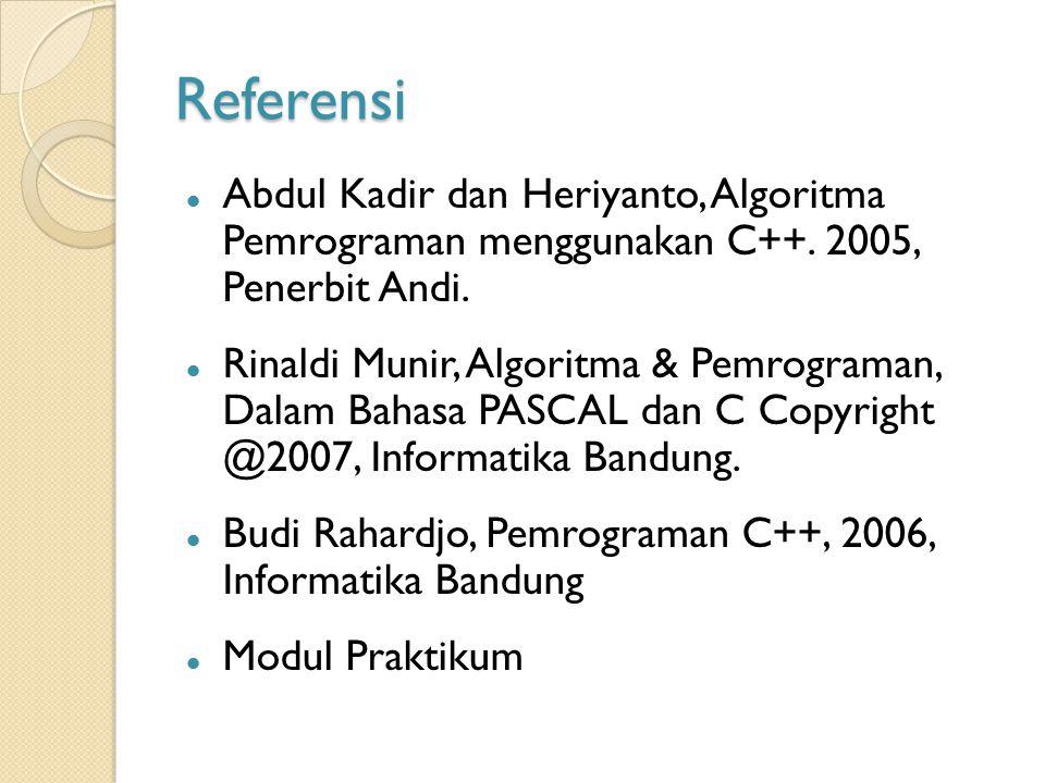 Referensi Abdul Kadir dan Heriyanto, Algoritma Pemrograman menggunakan C++. 2005, Penerbit Andi.