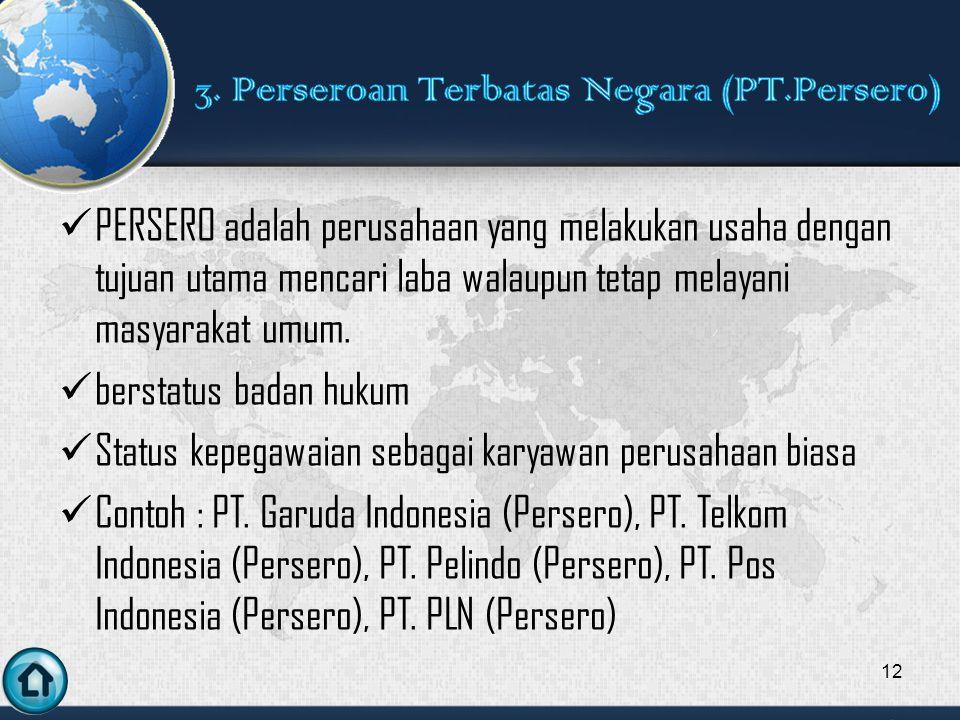 3. Perseroan Terbatas Negara (PT.Persero)