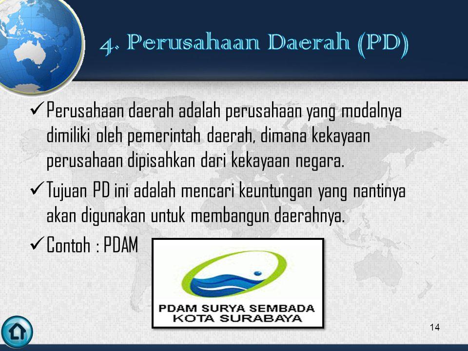 4. Perusahaan Daerah (PD)