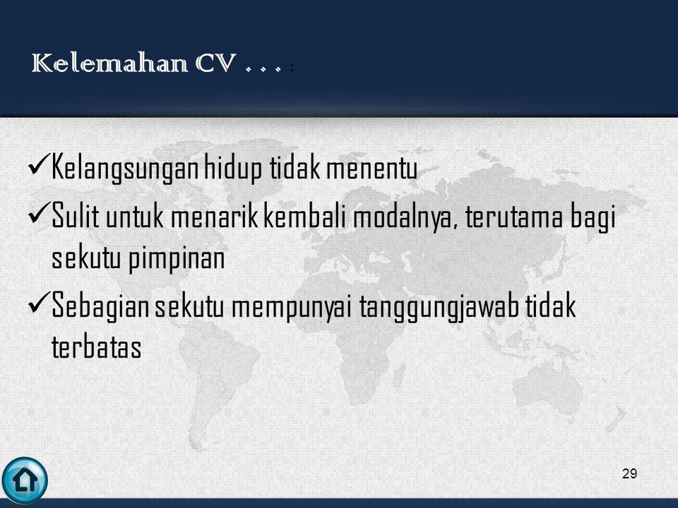 Kelemahan CV . . . : Kelangsungan hidup tidak menentu. Sulit untuk menarik kembali modalnya, terutama bagi sekutu pimpinan.